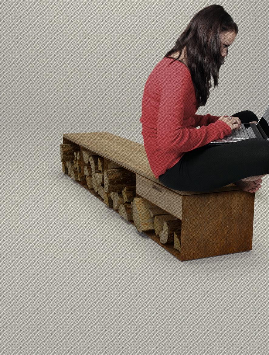 Stahlmöbel design  Design Stahlmöbel | Stahlmöbel-Sideboard mit Eichenholzauflage