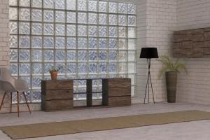 Stahlmöbel design  Stahlmöbel Design mit Holzfront in Rohstahloptik rustikal ...