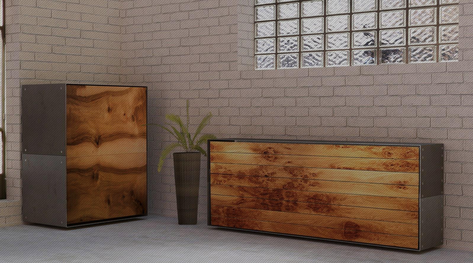 Stahlmöbel design  Design Stahlmöbel mit Holz