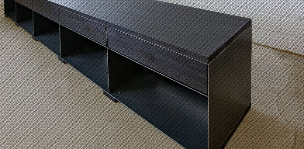 design metall sideboard in rohstahloptik mit gebeizten holz bestbauhaus. Black Bedroom Furniture Sets. Home Design Ideas