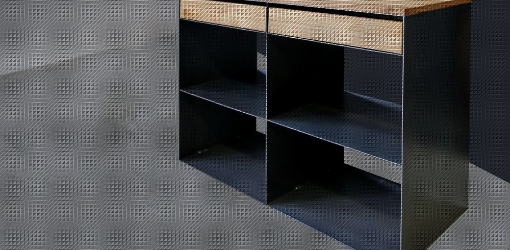 Moderne metallmöbel  Design Moderne Metall Möbel in Rohstahl und Massivholzauflage ...